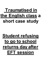 Traumatised in the English class a short case study  Student refusing to go to school returns day after EFT session